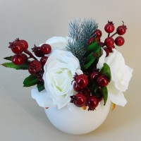 Artificial Flower Arrangements | White Roses and Berries in Bubble Vase - 17X133