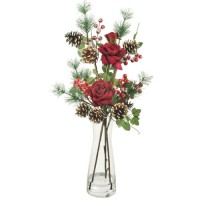 Artificial Flower Arrangements   Red Roses and Fir Cones in Glass Vase - 17X136