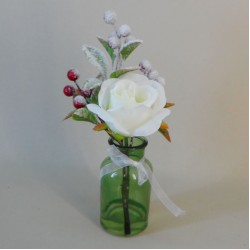 Christmas Flower Arrangements | Cream Rose and Red Berries - 18X089 - FR 1B