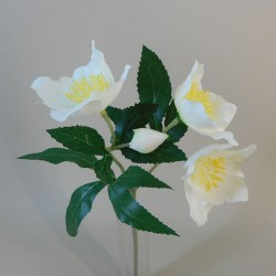 Artificial Hellebores Christmas Roses Stem Cream - 17X119