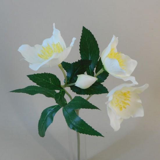 Artificial Hellebores Christmas Roses Stem Cream - 17X119
