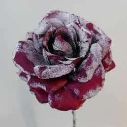 Christmas Flowers   Frosted Artificial Rose Burgundy - 17X106