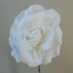 Christmas Flowers   Frosted Artificial Rose White - 17X105
