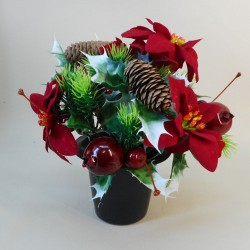 Silk Flowers Filled Grave Pot Red Christmas Poinsettias and Fruit - AG006
