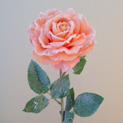 Frozen Artificial Rose Peach with Snow - 16X018