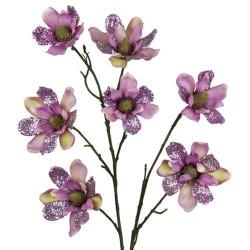Glitter Magnolia Flowers Vintage Mauve - 13X019