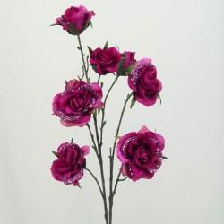 Glitter Artificial Rose Magenta - 13X017