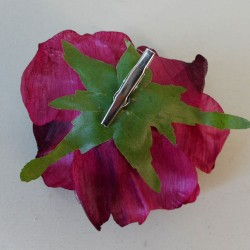 Glitter Organza Rose on clip Cranberry Pink - 17X113