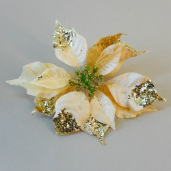 Glitter Velvet Poinsettia on Clip Gold - 17X189