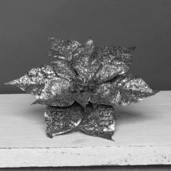 24cm Glitter Poinsettia on Wire Stem Pewter Grey - X21006