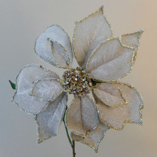 Large Artificial Poinsettias Champagne Gold - 18X017
