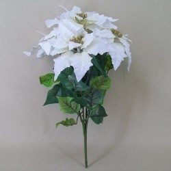 Large Luxury Velvet Artificial Christmas Poinsettias Plant White - 14X142