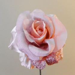 Pink Artificial Rose Satin Silk and Glitter - 18X012