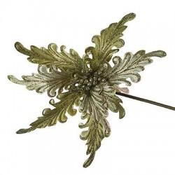 Poinsettia on Clip Large Green Velvet Rococo - X096