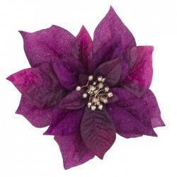 17cm Poinsettia on Clip Magenta Pink - X21085 BAY3C