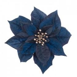 17cm Poinsettia on Clip Midnight Blue - X21084 BAY3C