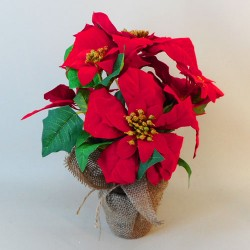 Potted Artificial Poinsettia Plant Red - 18X015