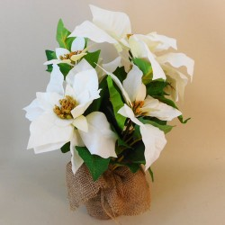 Potted Artificial Poinsettia Plant White - 18X016
