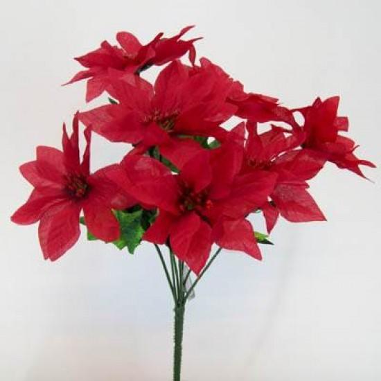 Poinsettia Bush Red 7 stems - X006