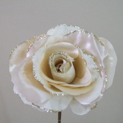 Silk and Hessian Roses Champagne - R520