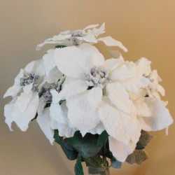 Snowy White Velvet Artificial Poinsettia Plant - X19101