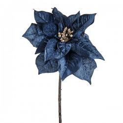 Velvet Poinsettias Midnight Blue - X19081