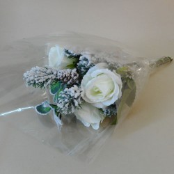Silk Flowers Christmas Bouquets Winter Frost - 17X127