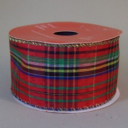 50mm Wired Tartan Christmas Ribbon - 16X129