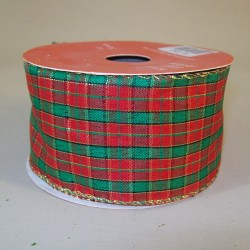 50mm Wired Tartan Christmas Ribbon - 15X129