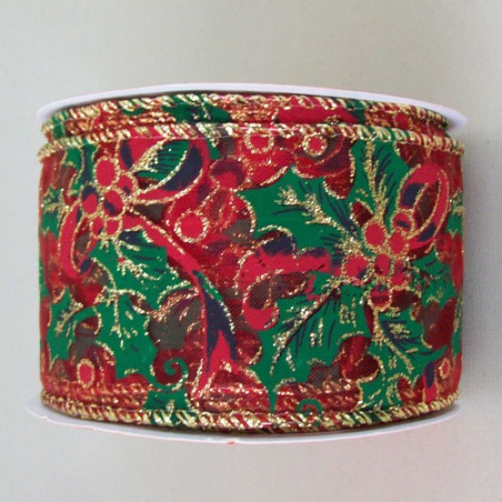 63mm Red and Green Wired Edged Ribbon Holly - 15X093