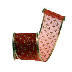Red and Gold Fleur de Lys Wired Ribbon - X017a