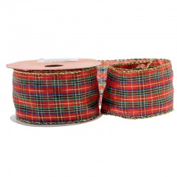 Tartan Christmas Ribbon Wired Edge - X017d