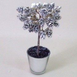 Mini Fir Cones Topiary Tree in Silver Pot - 15X113 2B