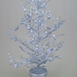 Twig and Berry Christmas Tree Silver- X053b