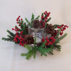 40cm Alpina Pine Christmas Candle Holder - 16X051