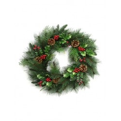 Christmas Spruce and Holly Berry Wreath 50cm - 14X017