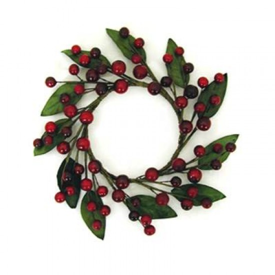 Christmas Artificial Berry and Leaf Candle Ring - X077