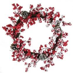 Frosted Berry and Pine Cone Christmas Wreath - 13X014