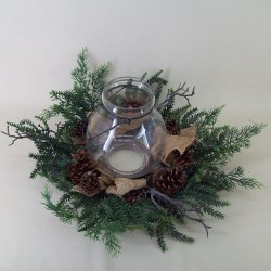 58cm Country Pine Christmas Wreath with Hurricane Vase - 15X082