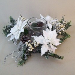 Frosted Poinsettia and Berries Christmas Candle Holder - 16X139