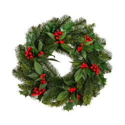 Holly Berry and Pine Christmas Wreath 42cm - 17X187