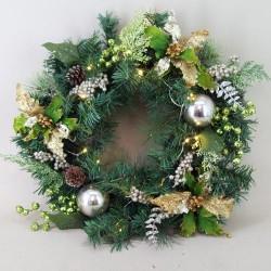 Large Prelit Christmas Wreath Lime Green Velvet Poinsettias 65cm - 14X040