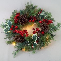 Christmas Wreath with Lights Holly and Red Berries 50cm - 14X041