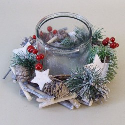 Rustic Twig and Berries Christmas Wreath with Hurricane Vase - 16X065