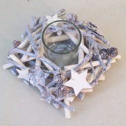 Rustic Twig Christmas Wreath with Hurricane Vase - 16X044