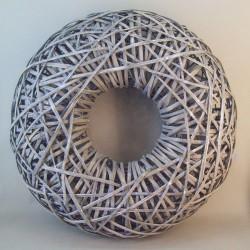 70cm Grey Washed Rattan Wreath - BKT020