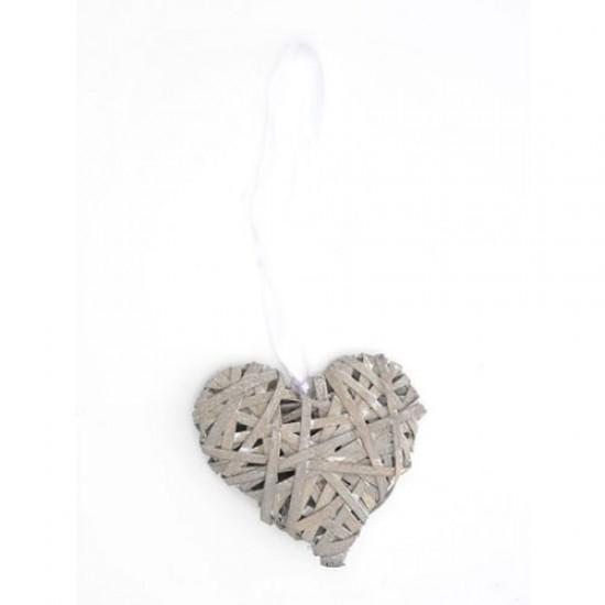 Grey Wicker Heart Hanging Decoration - BKT015