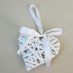 White Wicker Heart 10cm - BKT005