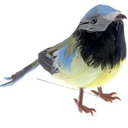 Artificial Birds | Feathered Blue Tit on Wire - BIR017