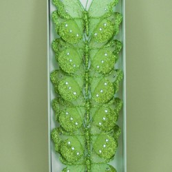 18cm Gauze Butterflies on Clip (6 pack) Lime Green - BF012